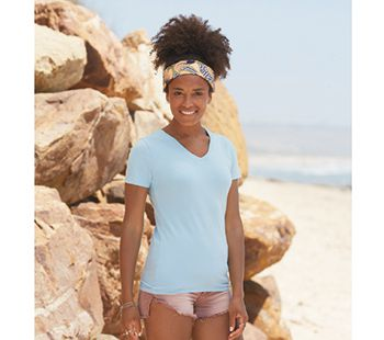 Fruit of the Loom Lady-Fit V-hals T-shirt