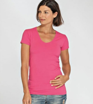 Lemon & Soda Cotton Elastane dames T-Shirt V-hals