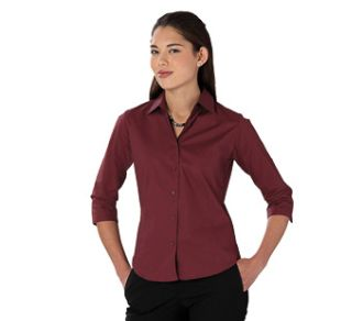 Russell Collection Ladies 3/4 Sleeve Poplin Stretch Shirt