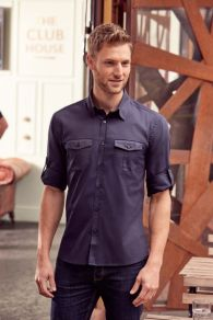 Russell Collection Men's Roll Sleeve Shirt LSL