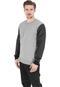 Urban Classics Quilt Leather Imitation Sleeve Crewneck